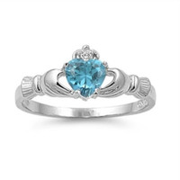 Sterling Silver Blue Topaz CZ Claddagh Ring Size 5-12