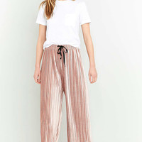 Light Before Dark Velvet Plisse Wide-Leg Trousers - Urban Outfitters