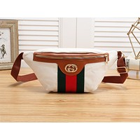 GUCCI  fashionable canvas striped Fanny pack hit with women's casual cross-breast bags White