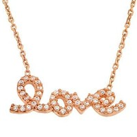 Sterling Silver Rose Gold Plated Cz Love Necklace, 16 Inches Plus 1 Inch Extension