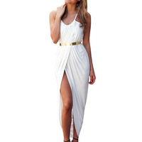 White Spaghetti Strap Split Dress