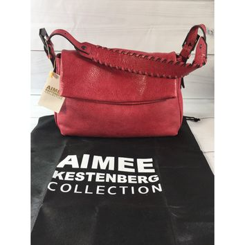 Aimee Kestenberg Red Vintage Leather Hobo Bag