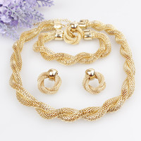 Gold Plated Vintage Chunky Necklace Bracelet Earrings Ring Love Jewelry Set Wedding