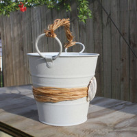 Shabby Chic Key West Beach Style Shell Wedding Pail