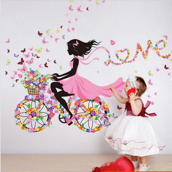 Pink Nursery Wall Decor Girls Fairies Butterfly and Flowers Art Decal Wall Stickers DIY Mural for Girls Room Self Adhesive PVC Wall Decal