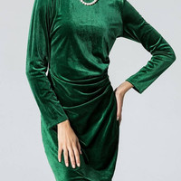Green Long Sleeve Body-Conscious Velvet Dress