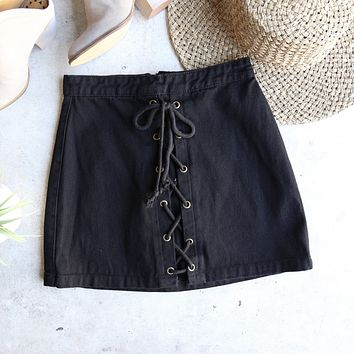 Kendall Denim Lace Up Skirt in Black
