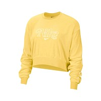 Nike Women's NSW Retro Femme Terry Cropped Crew Topaz Gold Sweatshirt