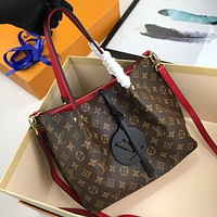 Louis Vuitton LV Women Leather Shoulder Bag Satchel Tote Bag Handbag Shopping Leather Tote Crossbody