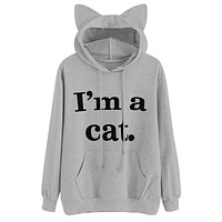 2017 Womens hoody Cat ears Hoodie Long Sleeve Sweatshirt Cute I'm a cat Hooded Letter Pullover Tops jumper Sportswear Femal