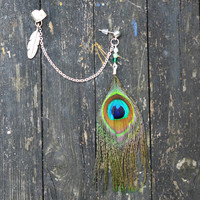 Feather Ear Cuff - Little Peacock
