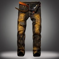 Ripped Holes Weathered Slim Jeans [10366809219]