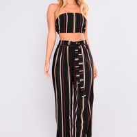 Say It Striped Pants Set - Black