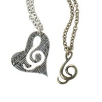 LOVEsick Music Note Heart Charm Necklace 2 Pack
