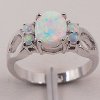 White Fire Opal 925 Sterling Silver Gemstone Jewelry Ring Size 6 7 8 9 10 11 [9819356111]