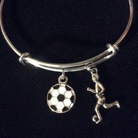 Soccer Charm Bangle Girl Playing Soccer Charm Resin Soccer ball Charm Bangle Bracelet Adjustable One Size Fits All