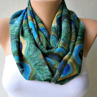 Peacock  Infinity Scarf Shawl Circle Scarf Loop Scarf   by anils