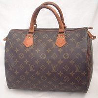 Authentic Louis Vuitton Vintage Speedy 30 Monogram Canvas Duffle Handbag