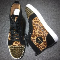DCCK Cl Christian Louboutin Lou Spikes Style #2194 Sneakers Fashion Shoes