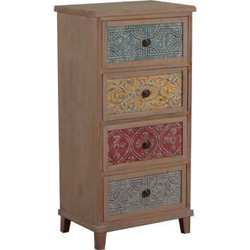 Molly Driftwood Tall Cabinet Multi Color Drawers