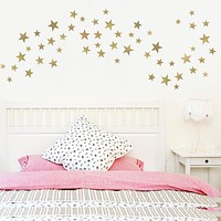 55 Metallic Gold or Silver Five - Point Star Vinyl Wall Decals (Multi sized)