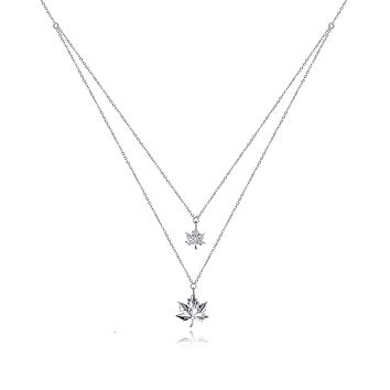 Willow Maple Fall Necklace for Women, Leaf Charms, 925 Sterling Silver