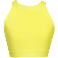 Yellow Halter Neck Black Bandage Crop Top