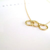 14k Gold Eternity Necklace. Dainty Mini Circle Necklace. Delicate Skinny Gold Necklace. Dainty Circles. Sister Birthday 14k Solid Gold