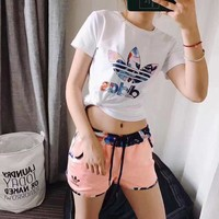 "wanelu : Women Fashion ""Adidas"" Print Short sleeve Top Shorts Pants Sweatpants Set Tw"