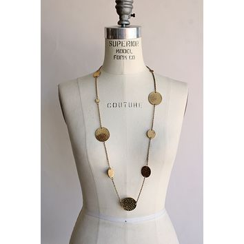 Vintage 1960s 1970s Gold Coin Necklace
