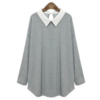 Women Fashion Turn-Down Collar Long Sleeve Top Blouse Solid Color Plus Size XL-XXXXXL = 1667501060