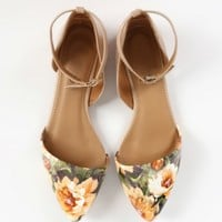 Pointy Toe Floral Ankle Strap D'orsay Flats | MakeMeChic.com