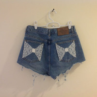 Lace Bow Pockets - high waisted jean shorts