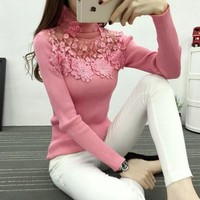 High Elastic Knitted Sweater Women Autumn Winter Lace Patchwork Long Sleeve Women Sweaters And Pullovers Female Pull Femme