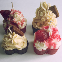 Heart Shaped Cupcake Candles Strawberry and Chocolate 4 Pack