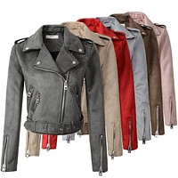 Women Autumn  Suede Faux Leather Jacket With Zipper Closure
