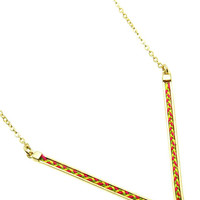 NECKLACE / CHEVRON / GEOMETRIC / KNITTED / METAL CHAIN / 1/5 INCH DROP / 16 INCH LONG / NICKEL AND LEAD COMPLIANT