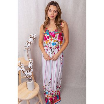 Easy On The Eyes Ivory Floral Print Maxi Dress