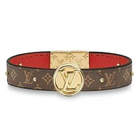 LV Louis Vuitton New fashion monogram print leather couple bracelet