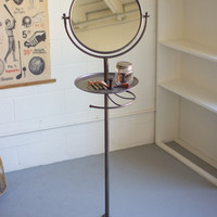 Round Mirror with Tray & Cast Iron Base