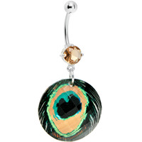 Faceted Gem Peacock Feather Design Belly Ring   Body Candy Body Jewelry