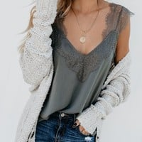 One More Night Lace Cami Tank - Pewter