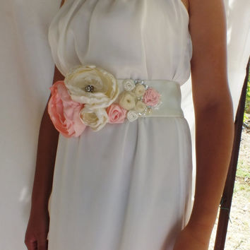 cream Bridal Sash - pink , ivory  Flowers,  Rhinestone Bridal Wedding Belt Sash - FREE  SHIP