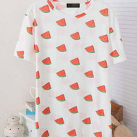 White Cartoon Print Casual T -Shirt