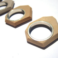 Sterling silver geometric ring with plastic. Handmade size 7 sterling silver ring. Faceted edgy neutral ring. Modern jewelry, beige ring