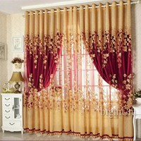Luxury Beaded For Living Room Tulle +Blackout Curtain