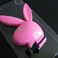 Shimmery Pink Play Bunny Cabochon Flat Back Resin Deco
