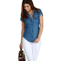 Promo- Denim Everything Button Down Top