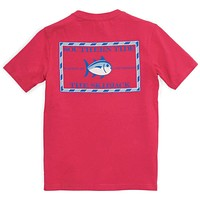 Youth Classic Skipjack Tee Shirt in Port Side Red by Southern Tide
