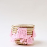 Mini Eyelash Fringe Basket - Pink - Indego Africa